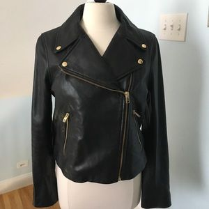 J Crew Collection Leather Motorcycle Jacket,  Sz12